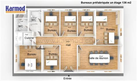 Bureaux Préfabriquée 136m²  Bungalow Bureau Bureau