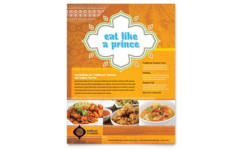 indian restaurant flyer template word publisher