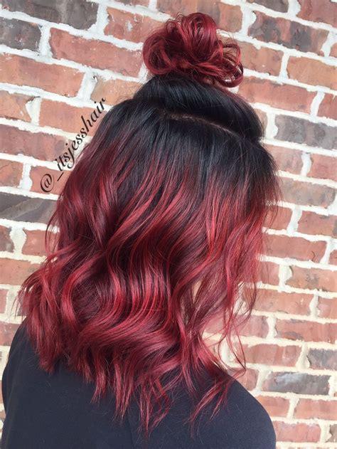 bayalage redbayalage shadowroot hairstyle red bayalage