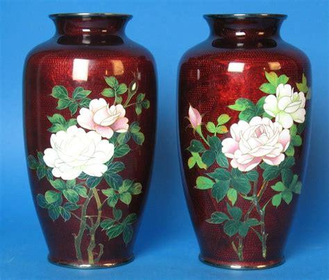 japanese vases vintage pair of japanese ginbari cloisonne vases c 1950 ebay