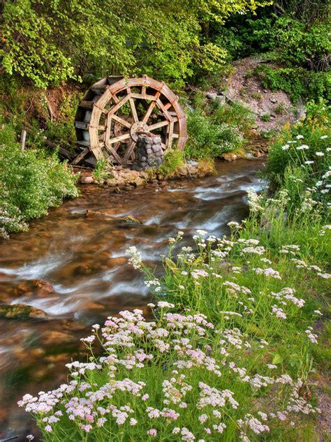rustic water wheel  scenic stream  mill creek canyon