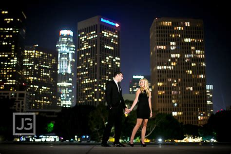 downtown los angeles engagement photography  night
