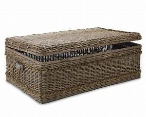 create a vintage look with a rattan coffee table With wicker chest coffee table
