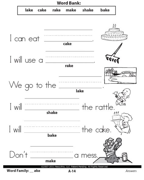 sample st grade language arts word families