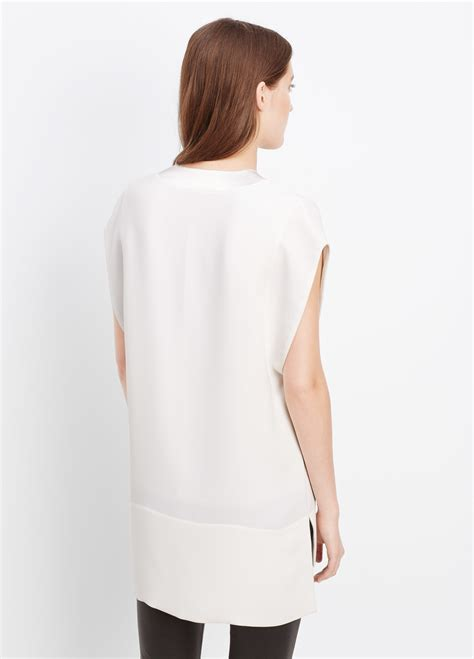 vince satin trim  neck blouse  white  white lyst