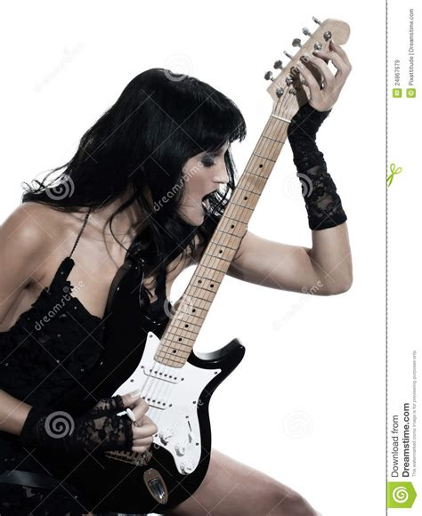 Woman Playing Electric Guitar Player Royalty Free Stock Images  Image 24867679