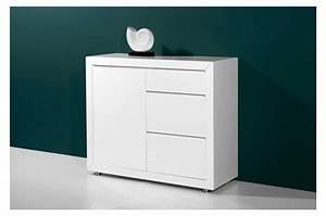 meuble de rangement 1 porte et 3 tiroirs laque blanc With porte d entrée alu avec meuble bas blanc salle de bain