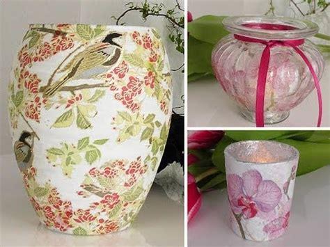 vasen selber machen diy vasen und gl 228 ser mit serviettentechnik als fr 252 hlings deko selber machen deko kitchen
