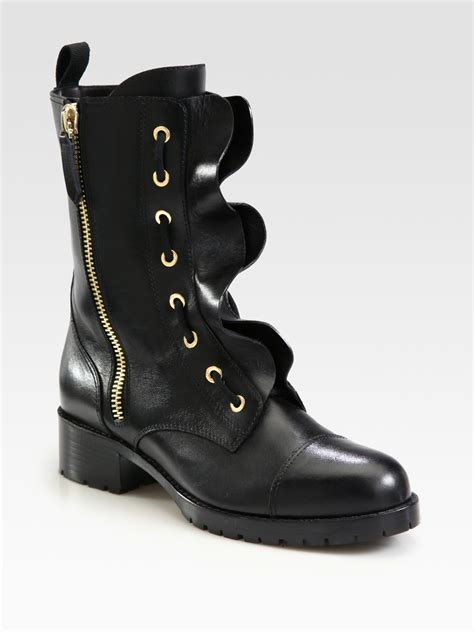 leather motorcycle shoes lyst valentino ruffled leather motorcycle boots in black