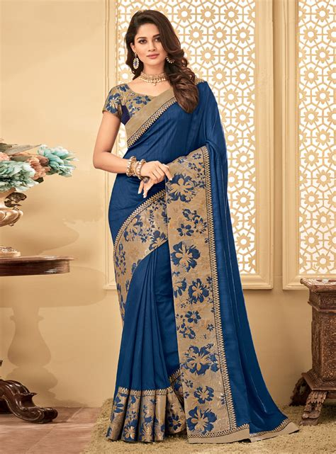 blue silk engagement wear saree