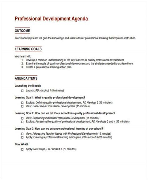 learning agenda templates   word  format