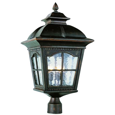 four light antique rust large outdoor post light trans