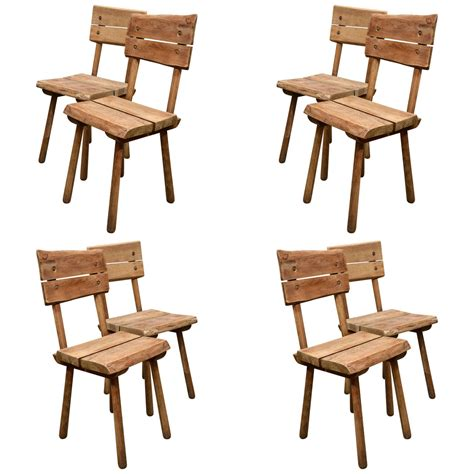 set of eight rustic oak dining chairs for sale at 1stdibs