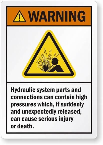 Hydraulic Warning System Label Pressure Parts Lb