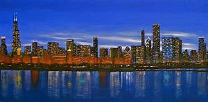 Chicago Skyline--nocturnal Glow Painting by J Loren Reedy