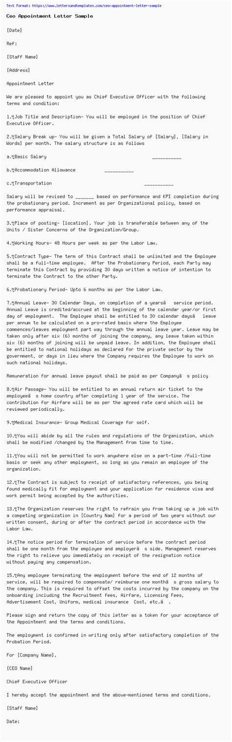 ceo appointment letter sample