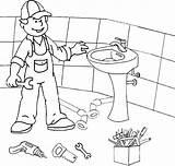 Plumber Coloring Washbasin Installs sketch template