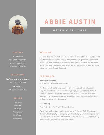 Graphic Design Resume Template Gray Sidebar Graphic Design Resume Templates By Canva