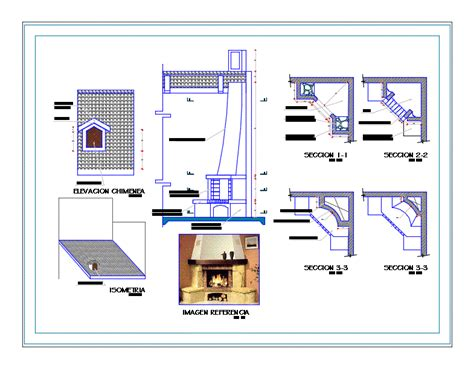detail furniture set fireplace dwg detail autocad