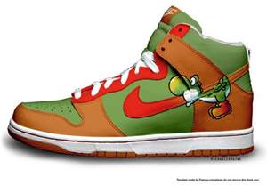 designer nike shoes bowser x yoshi nike dunks high sneaker koopa shoes colorful nikes