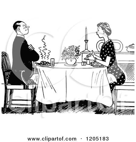clipart retro black  white couple dining  candle