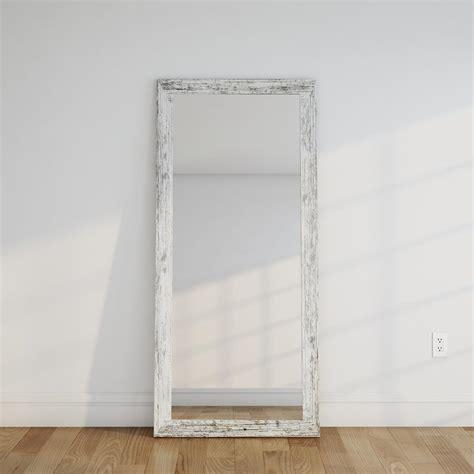 floor mirror white distressed white barnwood full length floor wall mirror bm032t the home depot