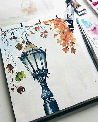 Watercolor Drawings Painting Fall Aquarell Drawing Watercolour