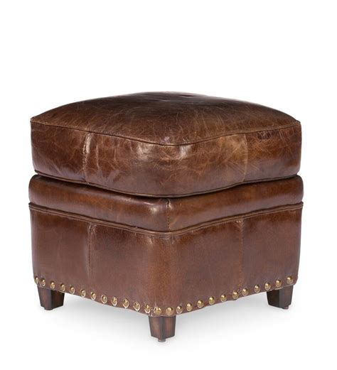 Hassock Ottoman by 18x18 Wide Small Ottoman Stool Vintage Brown Cigar Leather