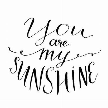 Sunshine Quote Inspirational Valentines Cards Lettering Vector