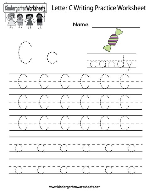 kindergarten letter c writing practice worksheet printable