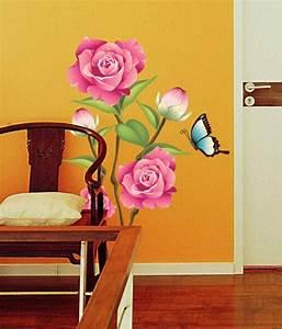 Stickerskart pink and green vinyl flower valentine day