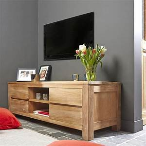 Meuble Bois Brut : meuble tv en bois de teck 150 boston bois dessus bois dessous ~ Teatrodelosmanantiales.com Idées de Décoration