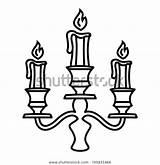 Candle Outline Candelabra Icon sketch template