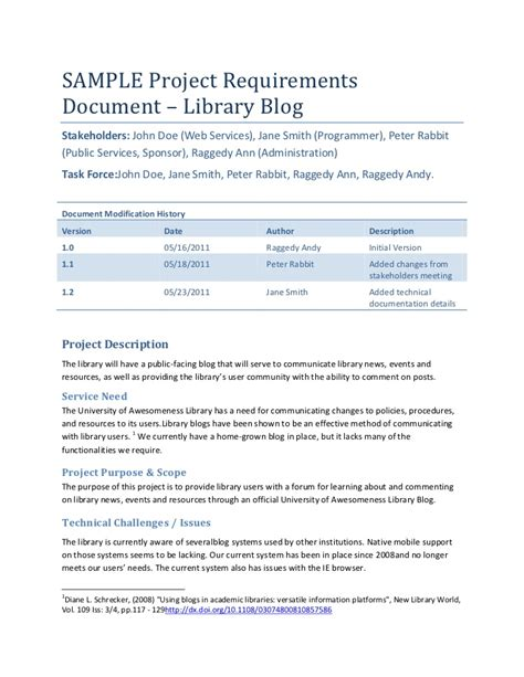 requirements document template sle project requirements document library