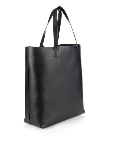 saint laurent monogram leather shopper bag  black