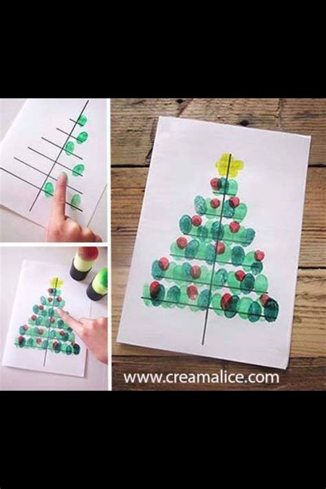 ideen basteln mit kleinkind christbaum mit fingerabdr 252 cken karten noel carte noel