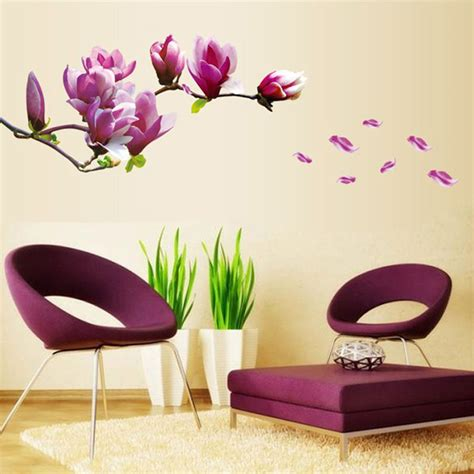 flower decals for bedroom purple magnolia flower wall stickers bedroom wall
