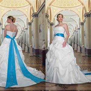 2014 royal blue and white embroidery cheap plus size With royal blue wedding dresses plus size