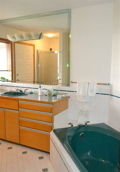 how to update and modernize forest green bathroom fixtures