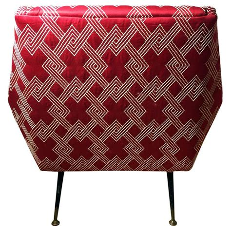 Geometric Fabric Chair by Mid Century Italian Angled Back Club Chair In Red And