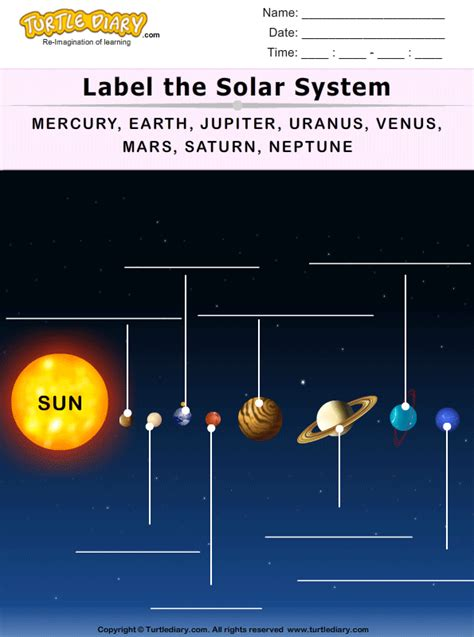 label  solar system worksheet turtle diary
