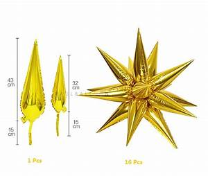 Cheap Foil Balloons Bunch|43cm Gold Multi Point Star Foil ...
