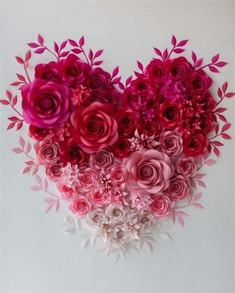 Choose from any aesthetic collage kits from lunacollages and you have infinite options to decorate your rooms with these beautiful images. Paper Flowers Heart Wall Art - Paper Flower Art Installation — Mio Gallery