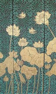 A gorgeous 3 panel abstract piece depicting lotus flowers ...