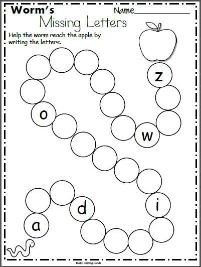 Worm's Missing Letters Worksheet For Kindergarten Madebyteachers