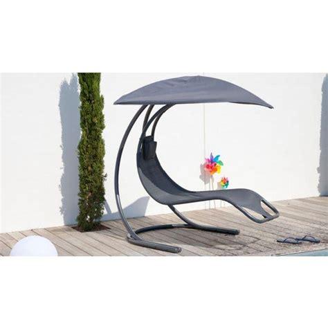 chaise longue suspendue chaise longue suspendue grise en textilène achat