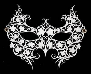 White Laser Cut Leather Lace Masquerade Mask - Poison Ivy ...