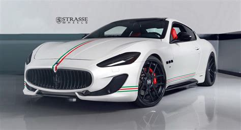 black maserati sports car patriotic maserati granturismo s poses on satin black wheels
