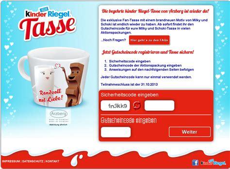 Ferrero Kinderriegel Aktionspackungen Mit Sammelcodes Für Eine Arzberg Sammeltasse.
