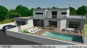 interieur maison toit terrasse With plan de maison moderne 4 maison contemporaine rouvre etec